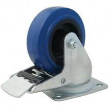 3inch Castor Blue Rubber/Nylon Swivel Brake 80x60 Tube 90kg