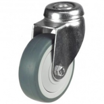 5inch Swivel Castor, Grey Rubber Tyre, 12mm Bolt Hole 80kg