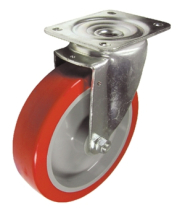 8inch FLEXELLO Red Poly/Nylon Swivel 105 x 75 Roller 500kg