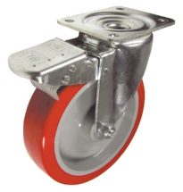 8inch FLEXELLO Red Poly/Nylon Swivel Brake 105 x 75mm Plate