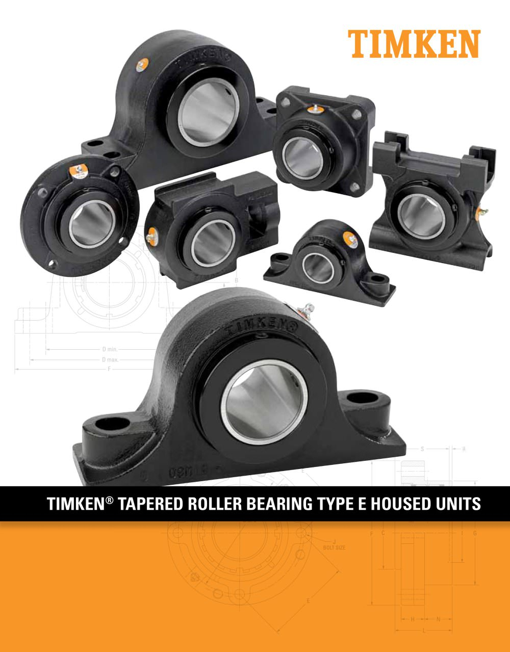 Timken E Blocks (Inch Sizes)Pillow Block; 2 Bolt Base